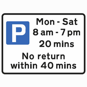 Free parking for all vehicles between Monday and Saturday, between the hours of 8am and 7pm. Parking is permitted for 20 minutes sign