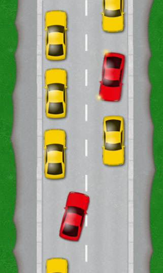 Cars parked on both sides of the road