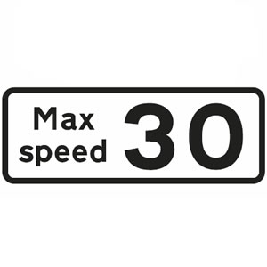 Recommended maximum speed limit sign