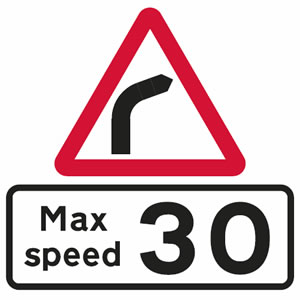 Recommended maximum speed limit bend in road sign