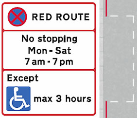 Red route parking bays