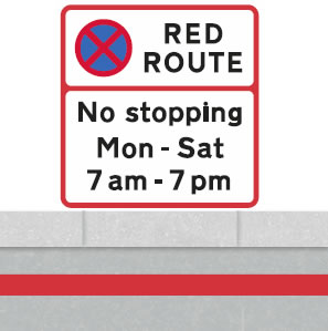 Red route no stopping single line