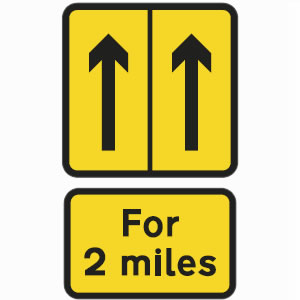 Repeater road works sign left lane hard shoulder sign