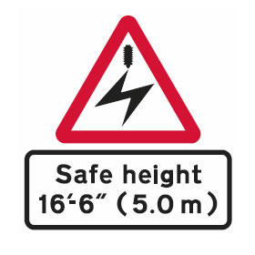 Level crossing safe height sign
