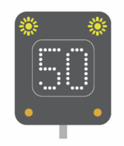 Temporary speed limit motorway signal
