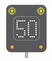 Temporary speed limit motorway signal