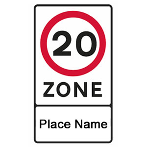Entrance to speed restricted traffic calming zone sign