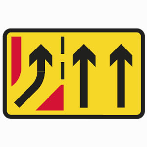 Temporary yellow road works slip road sign