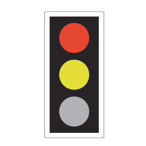 Traffic lights red and amber