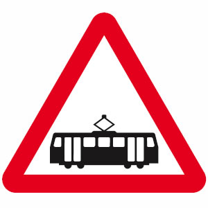 Trams crossing sign
