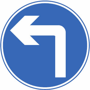 Turn left ahead sign