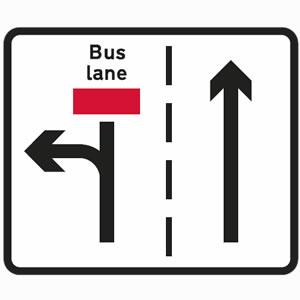 Traffic turn left only bus lane sign