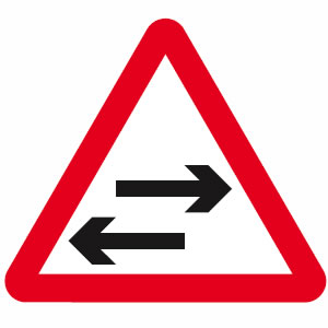 Two way traffic road sign