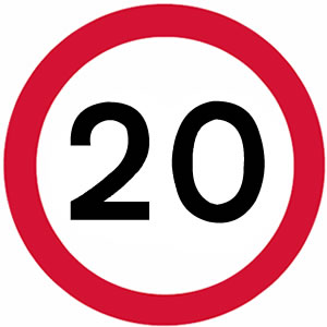 20 mph UK speed limit sign