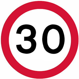 30 mph UK speed limit sign