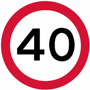 40 mph UK speed limit sign