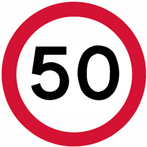 50 mph UK speed limit sign