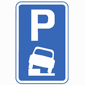 Vehicles may park partially on pavement sign