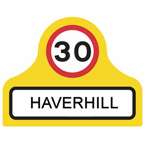 Start of a speed limit at the boundary of a town or village sign