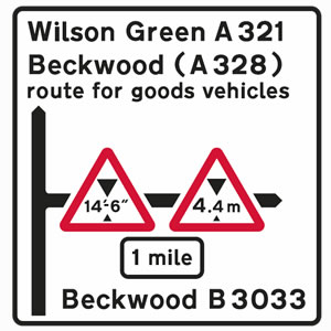 White road signs incorporating warning sign