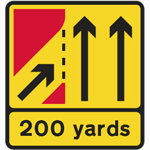 Temporary slip road joining carriageway sign