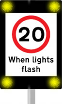 20 mph speed limit when lights flash road sign