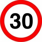 Mandatory speed limit regulatory sign