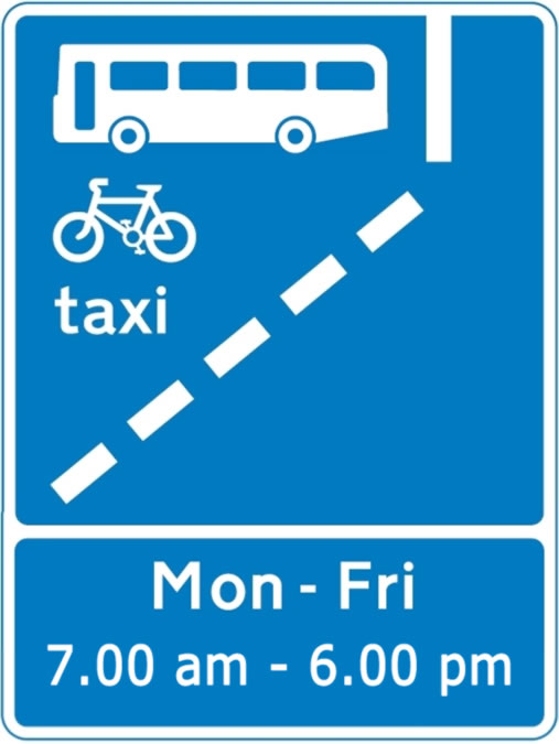 Bus lane hours of operation sign