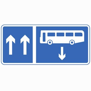 Contra-flow bus lane sign.