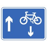 Contra-flow pedal cycles in a one-way street road sign