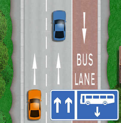 Contraflow bus lane