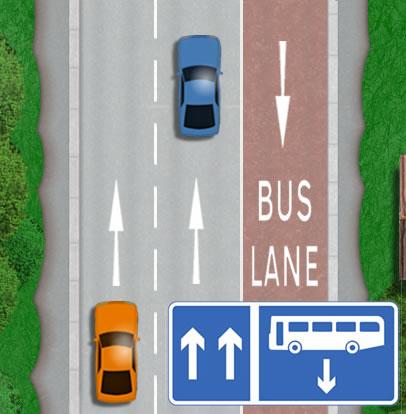 Contraflow bus lane