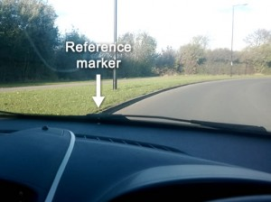 Cornering in a car reference points