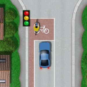 Cycle area at junction