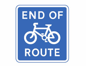 End of cycle lane, track or route sign.