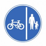 Separated track for pedal cyclists and pedestrians only road sign