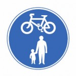 Shared route for pedal cycles and pedestrians only sign.