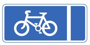 Mandatory with the flow of traffic pedal cycle lane road sign