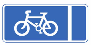Mandatory with-flow pedal cycle lane sign