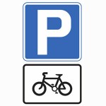 Pedal cycles parking road sign