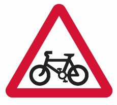 Pedal cycle route crossing or joining road ahead sign.