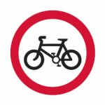 Riding of pedal cycles is  prohibited sign.