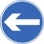 Proceed in direction indicated by the arrow sign