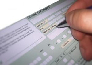 Driving examiner marking test sheet