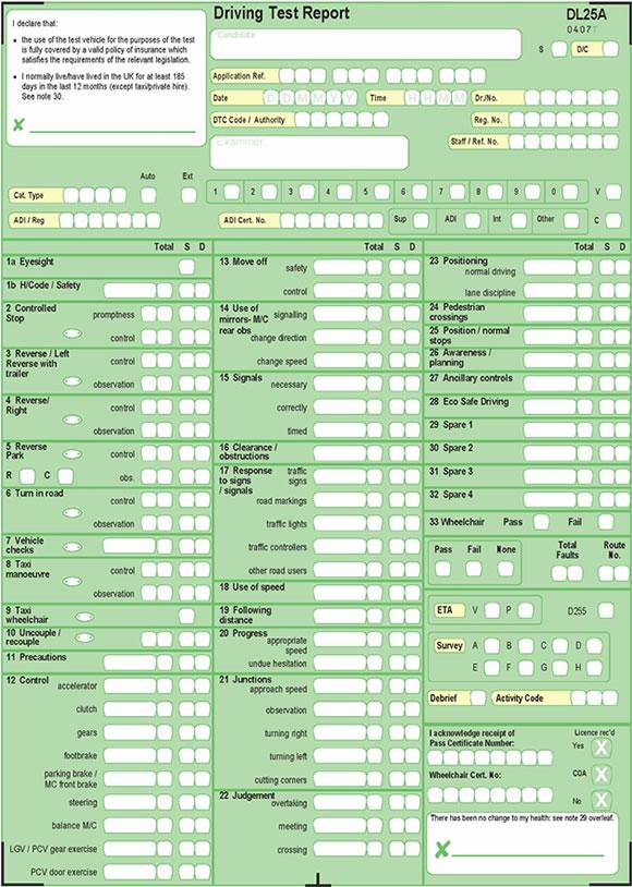 Driving Test Report Sheet
