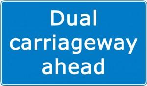 Dual carriageway ahead sign