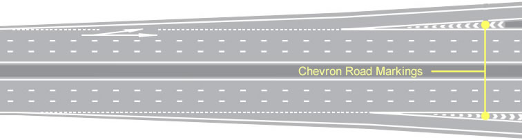 Dual carriageway chevron road markings