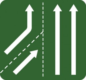 Traffic merging from left sign
