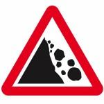 Falling or fallen rocks sign