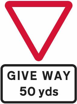 Give Way ahead warning sign